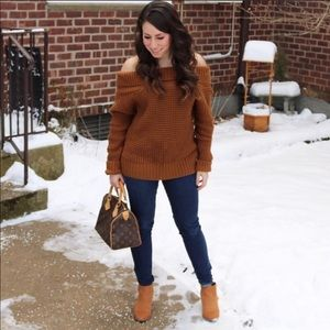 BP off the shoulder sweater, brown